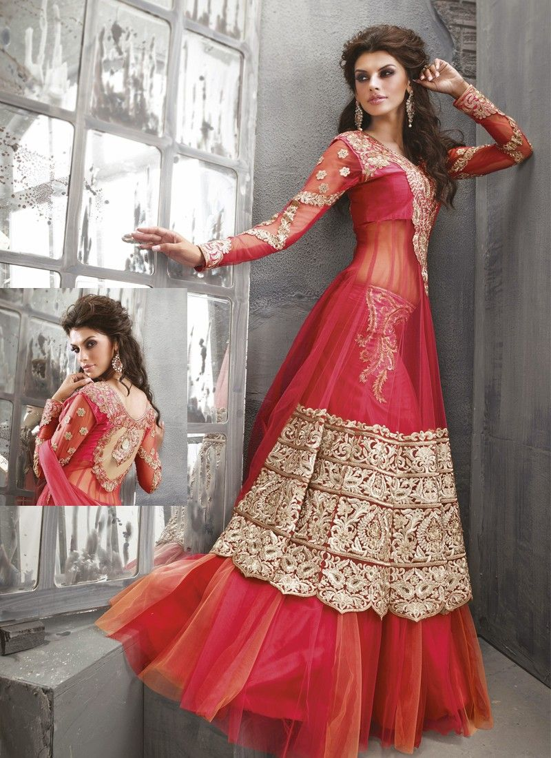 Red Stone Work Net Anrakali Suit