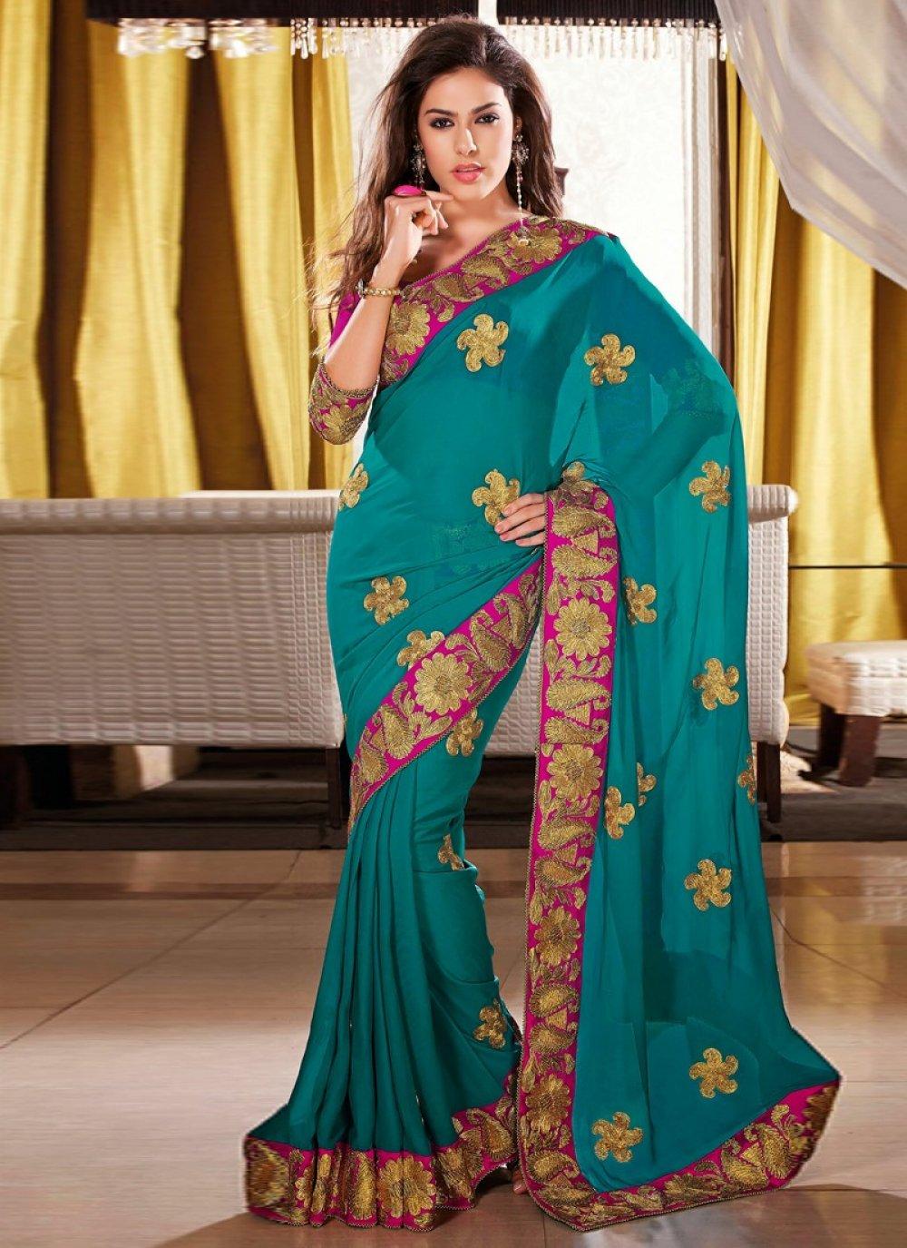 Teal Resham Work Wedding Saree