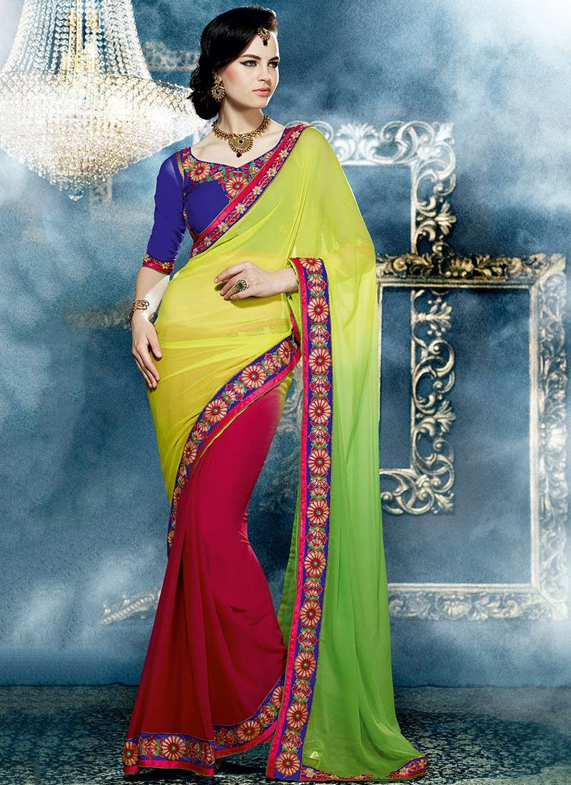 Yellow And Maroon Georgette Half And Half Saree
