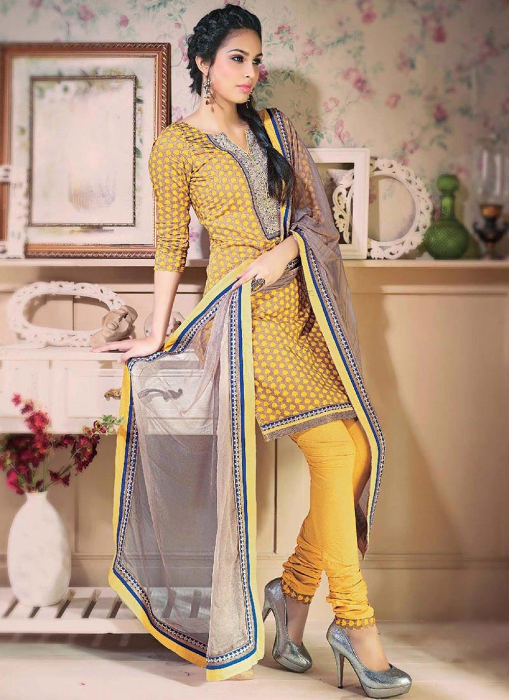 Yellow Printed Cotton Churidar Suit