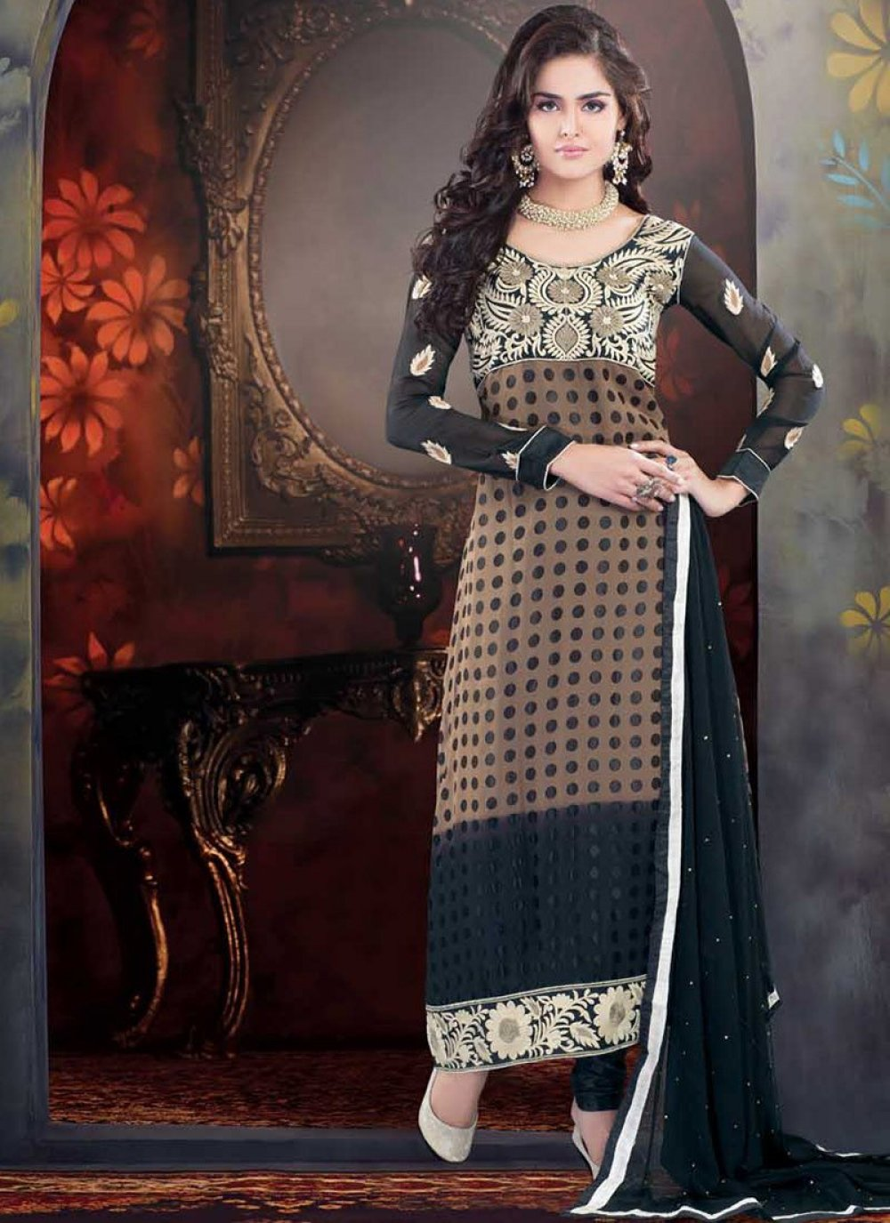 Gracefull Black And Brown Brasso Churidar Suit
