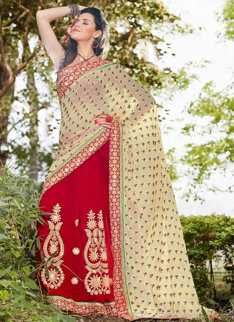 Grand Beige And Red Embroidered Work Saree