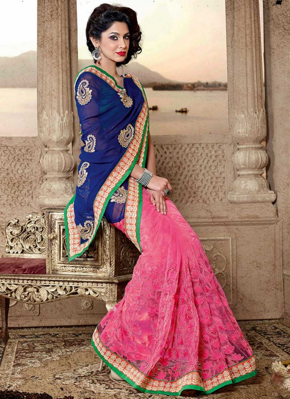 Grand Blue And Pink Georgette And Net Saree