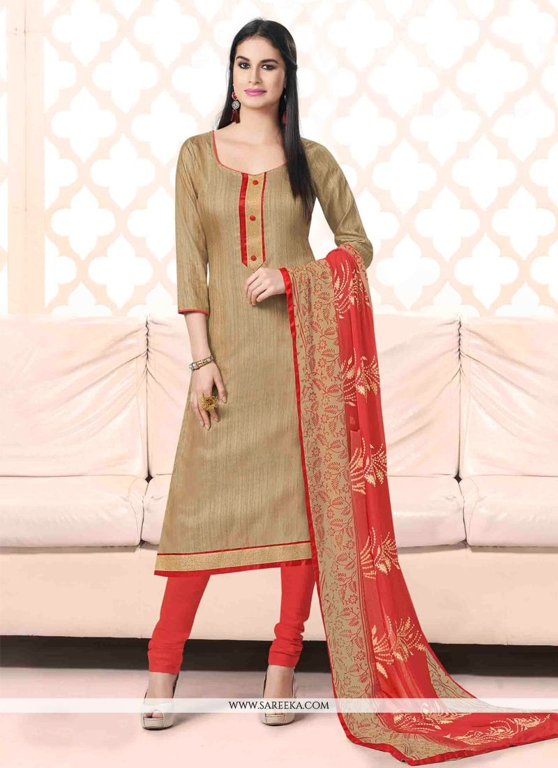 Bhagalpuri Silk Beige Churidar Suit