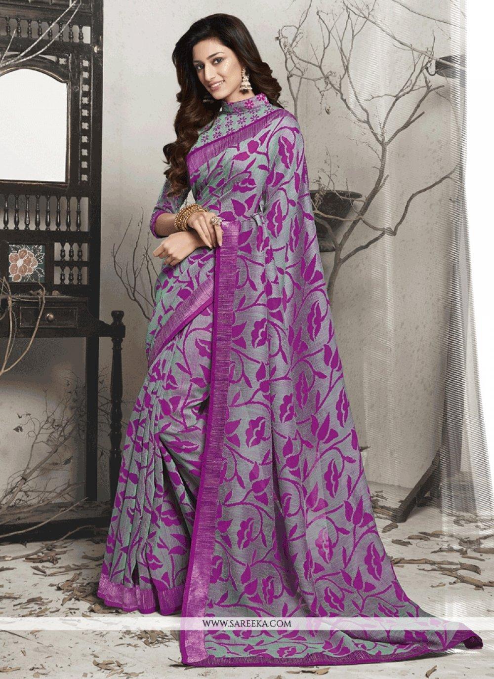 Brasso Purple Lace Work Casual Saree