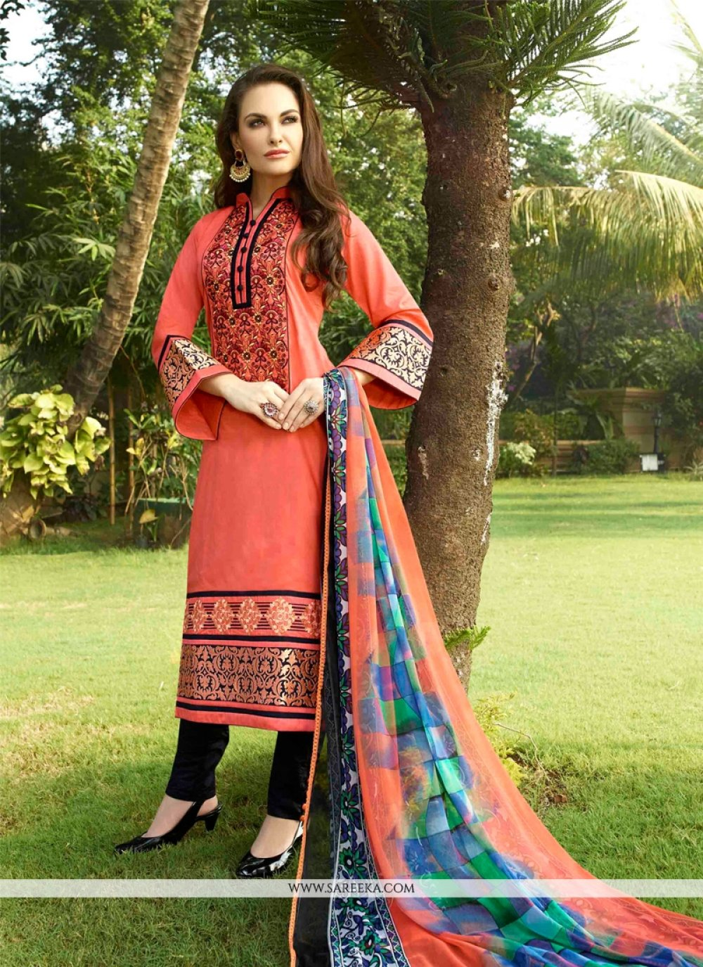 Cotton Satin Peach Resham Work Churidar Designer Suit