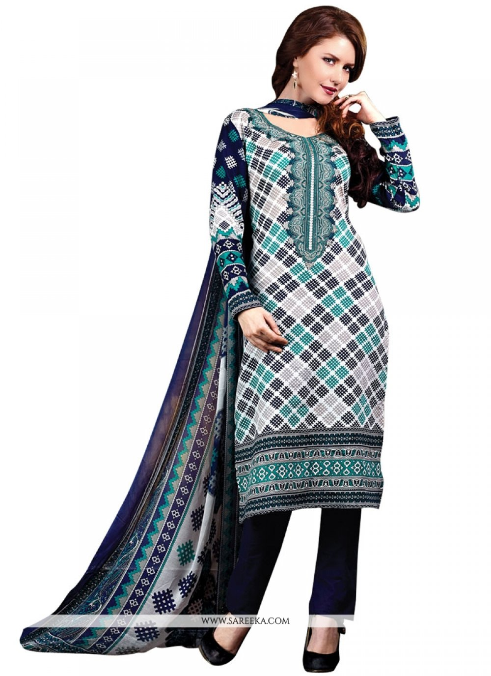 Cotton Satin Print Work Designer Suit