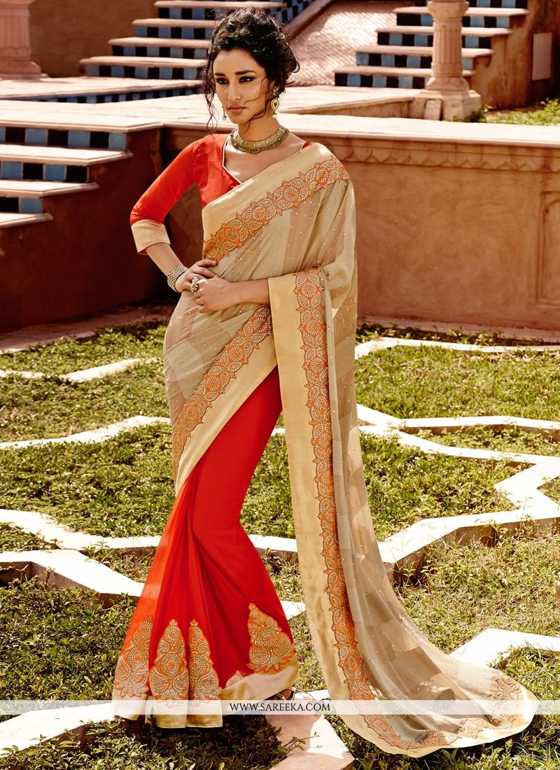 Georgette Beige and Red Lace Work Designer Half N Half saree