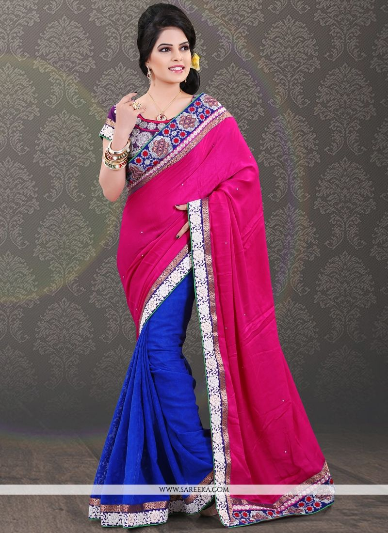 Hot Pink and Blue Embroidered Work Casual Saree