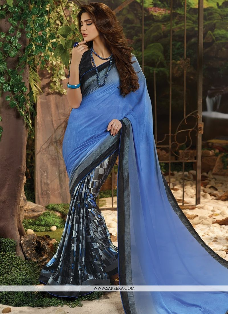 Lace Work Blue Satin Casual Saree