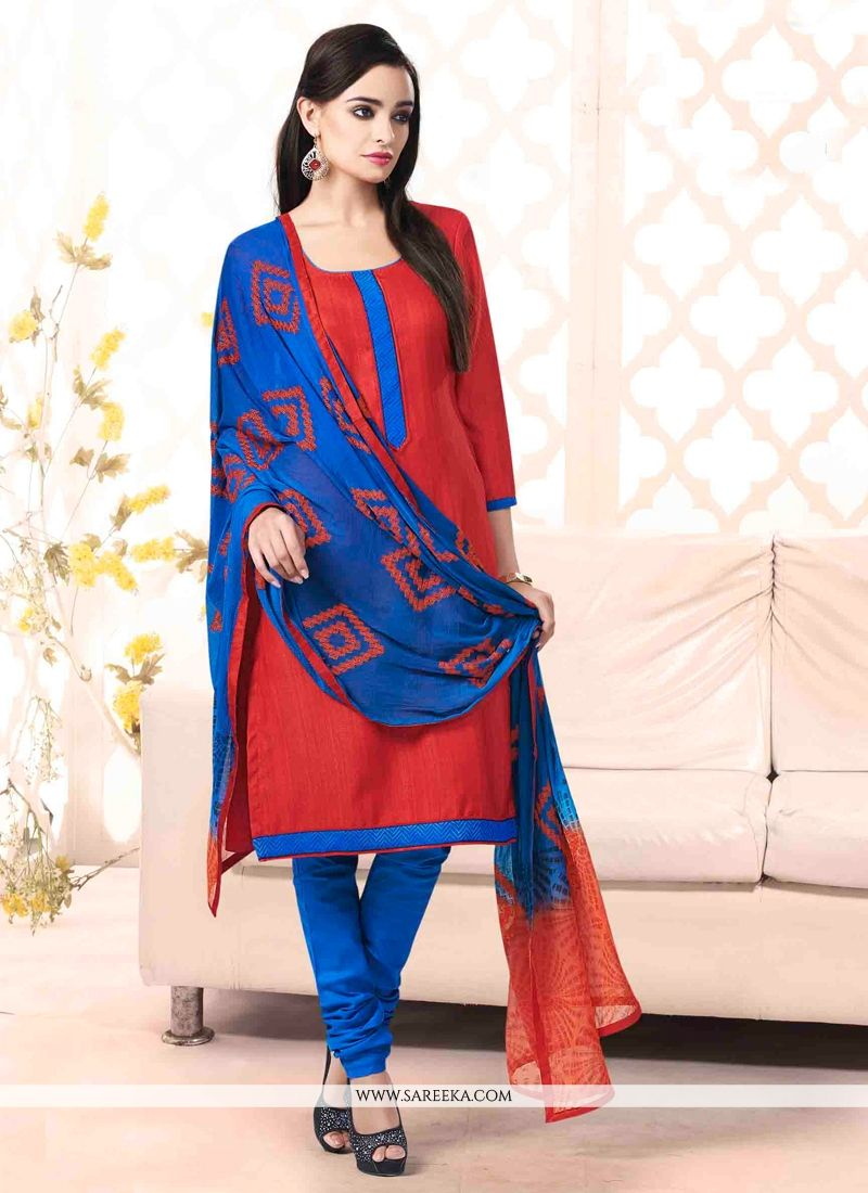 Red Bhagalpuri Silk Churidar Salwar Suit
