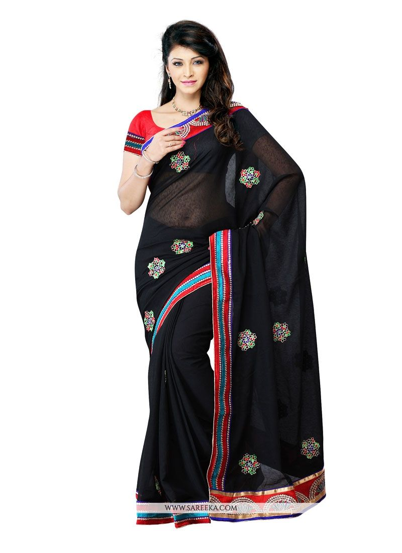 Art Silk Black Patch Border Work Designer Saree