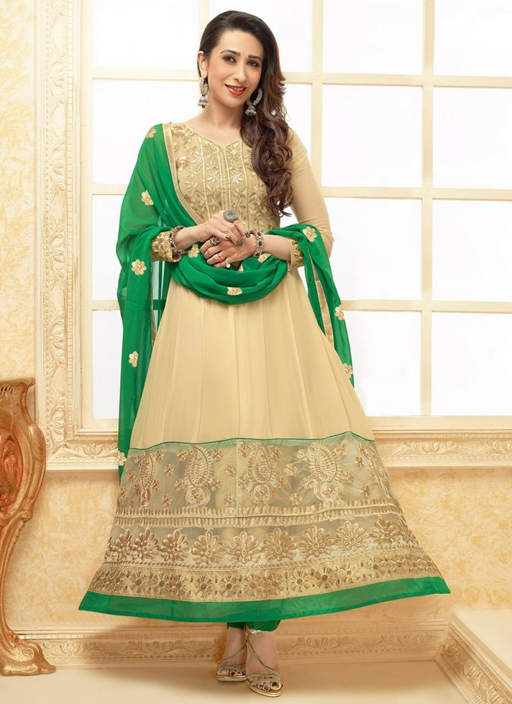 Beige And Green Embroidered Anarkali Suit