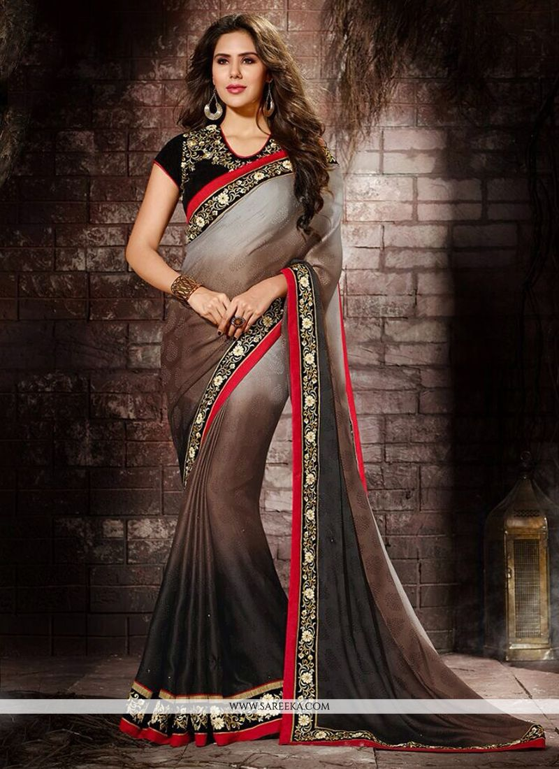 Embroidered Work Jacquard Designer Saree