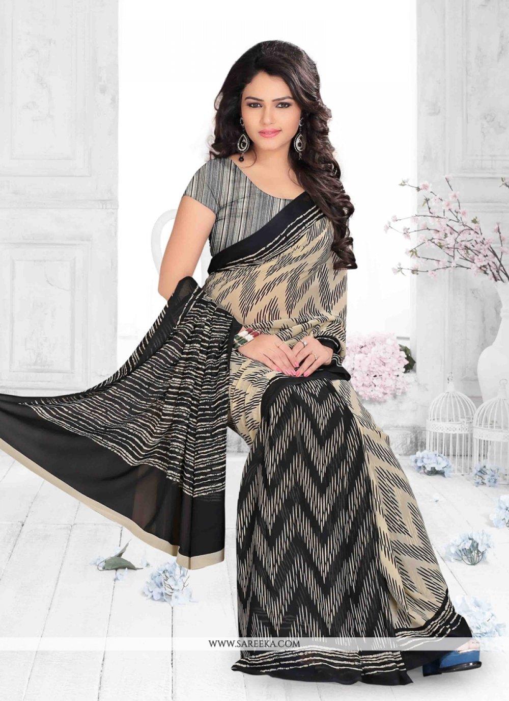 Print Work Black Casual Saree