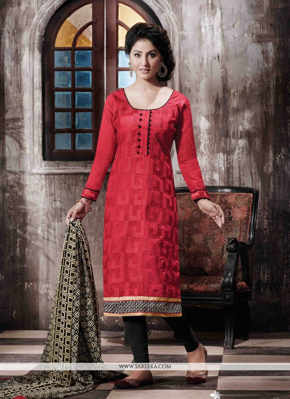 Print Work Red Designer Straight Salwar Kameez
