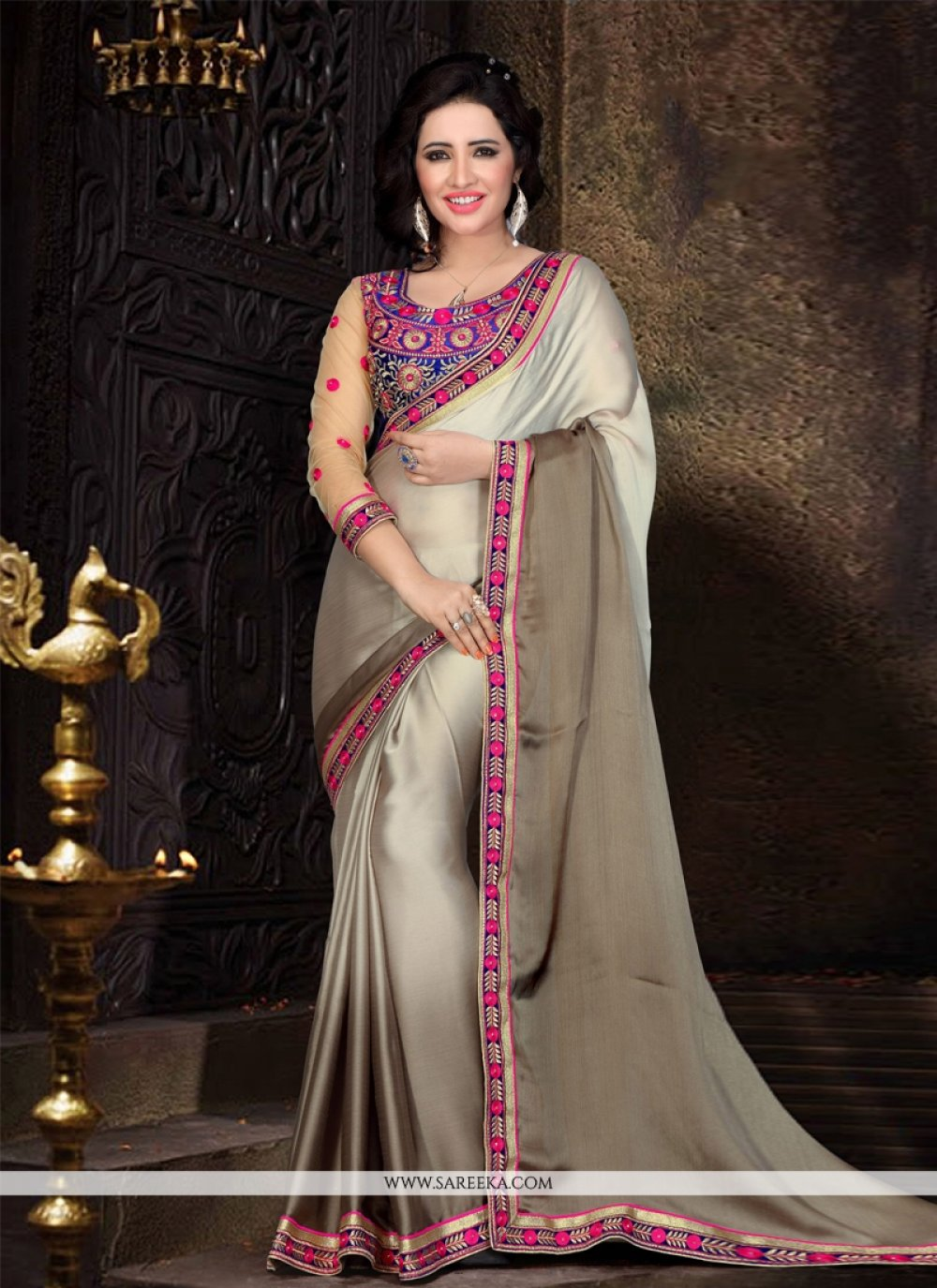 Satin Lace Work Designer Saree