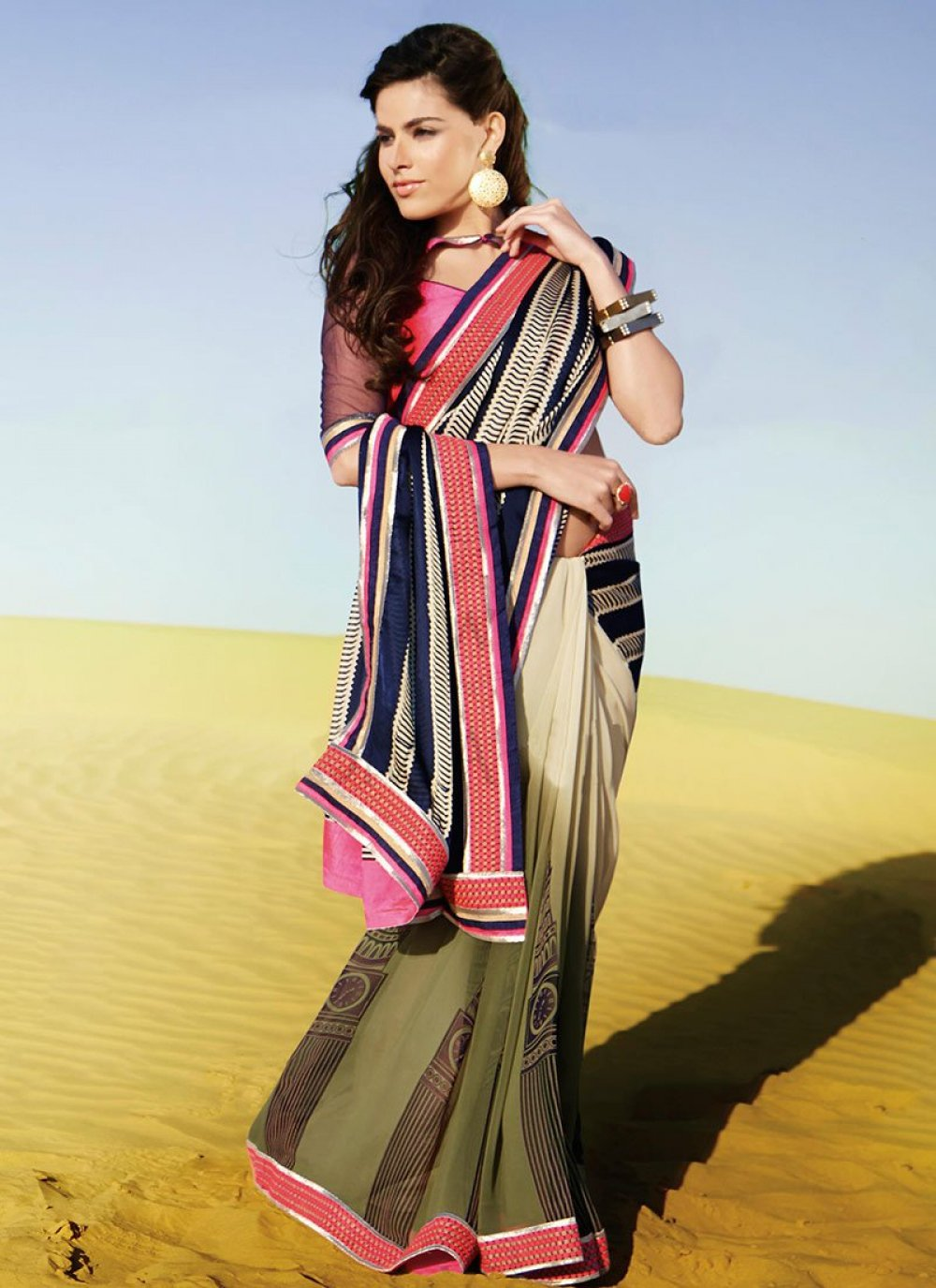 Green And Beige Patch Border Faux Georgette Saree