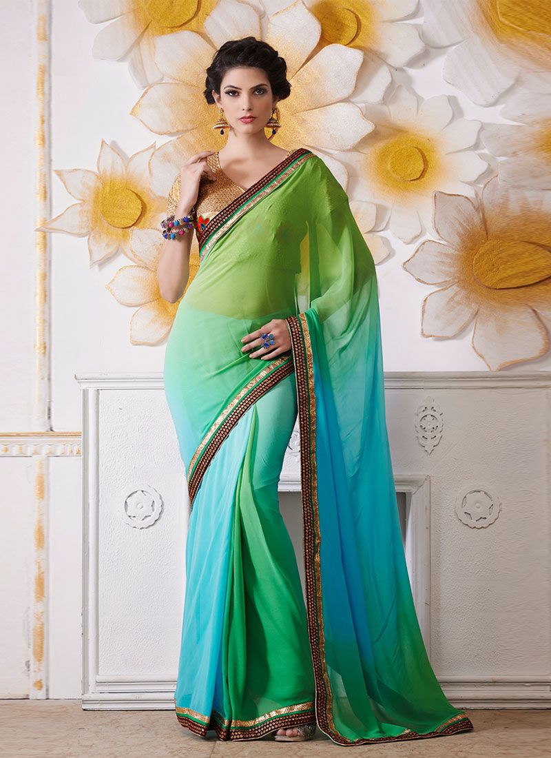Green And Blue Embroidery Work Designer Saree