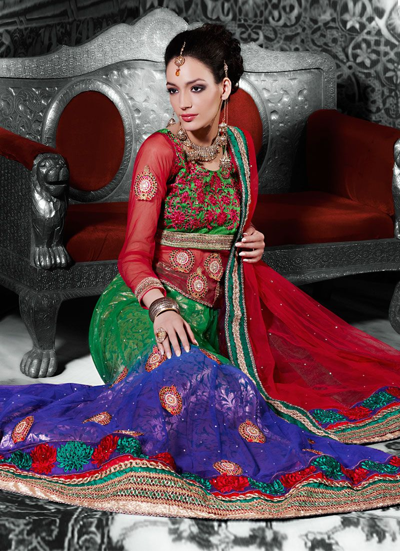 Green And Blue Net A Line Lehenga Choli