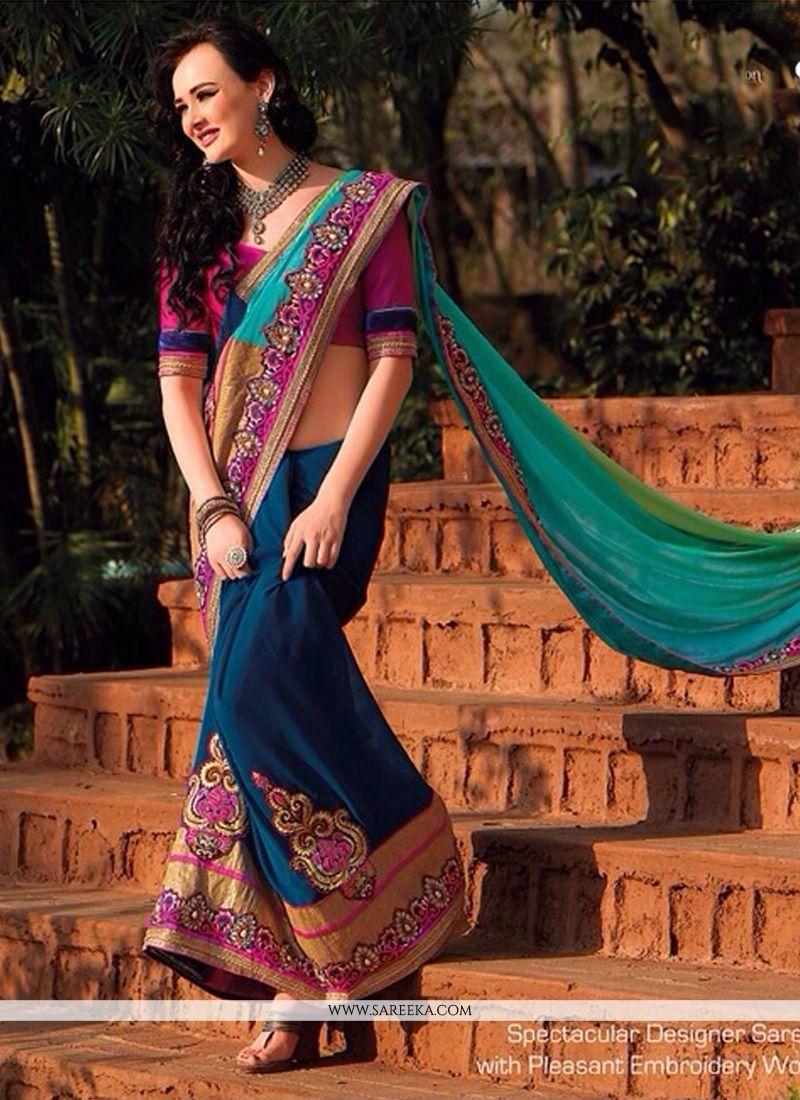 Green And Blue Shaded Satin Chiffon Saree