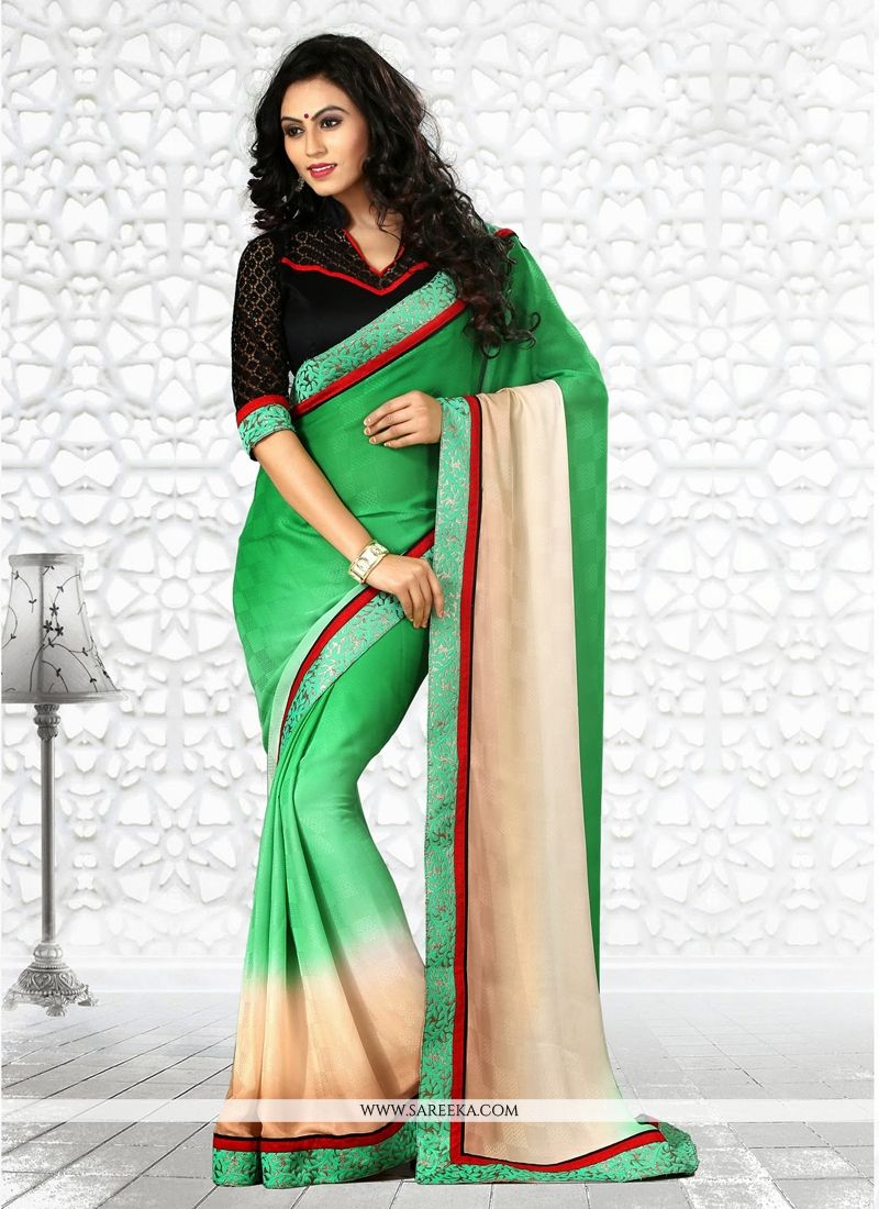 Green And Cream Jacquard Casual Saree