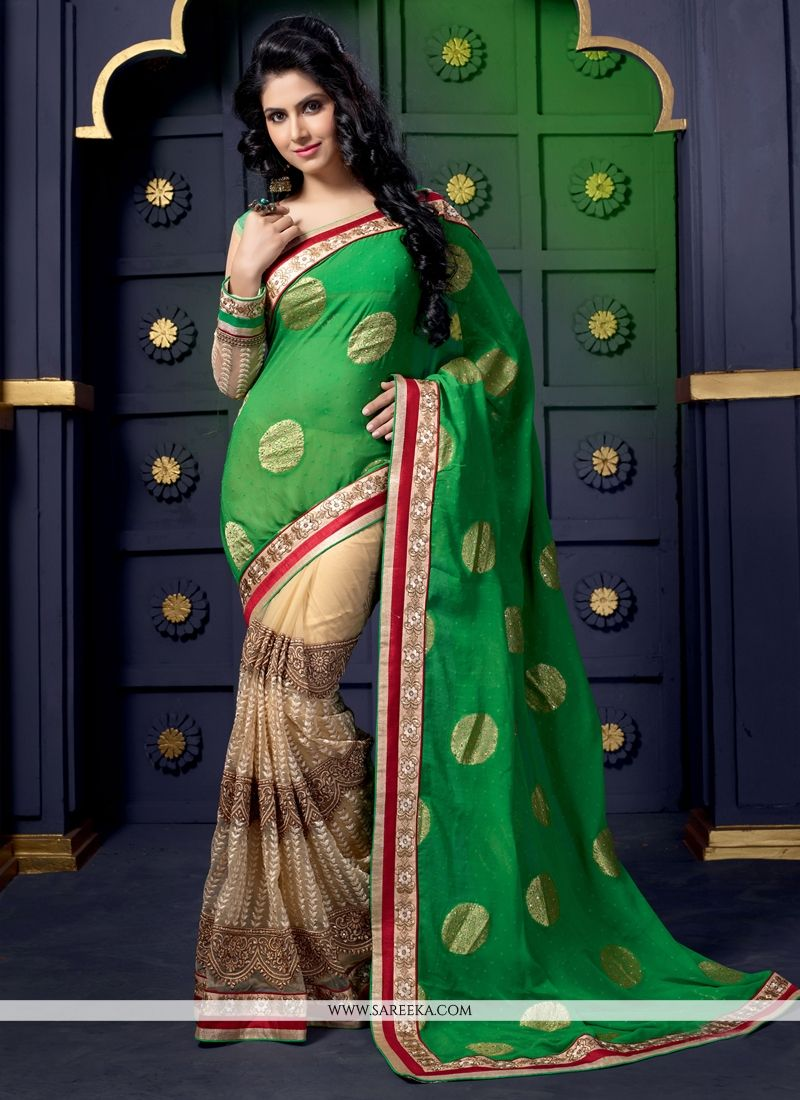 Green And Cream Net And Viscose Designer Saree