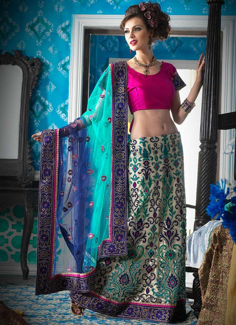 Green And Cream Net Lehenga Style Saree