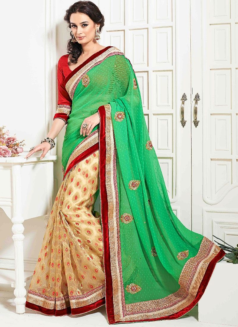Green And Cream Resham Work Faux Georgette Designer Saree
