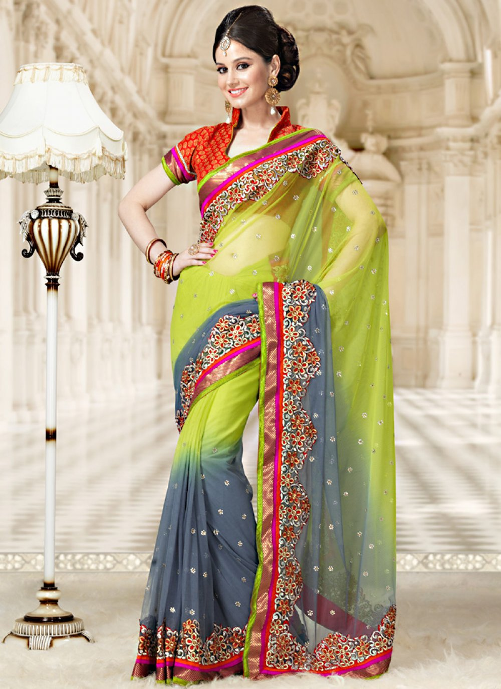 Green And Grey Shaded Net Saree