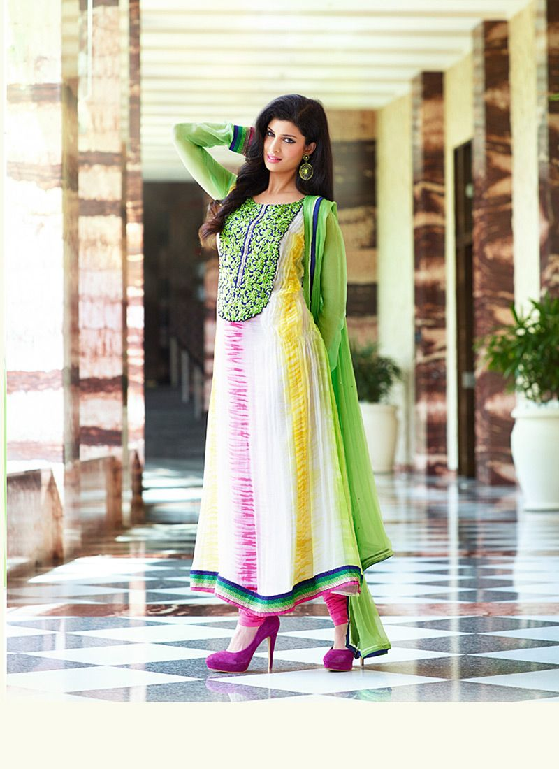 Green And Off White Resham Work Net Anarkali Salwar Suit