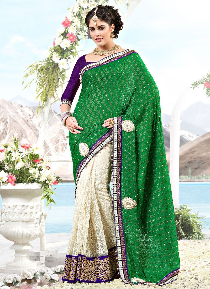 Green and Off White Viscose and Net Saree