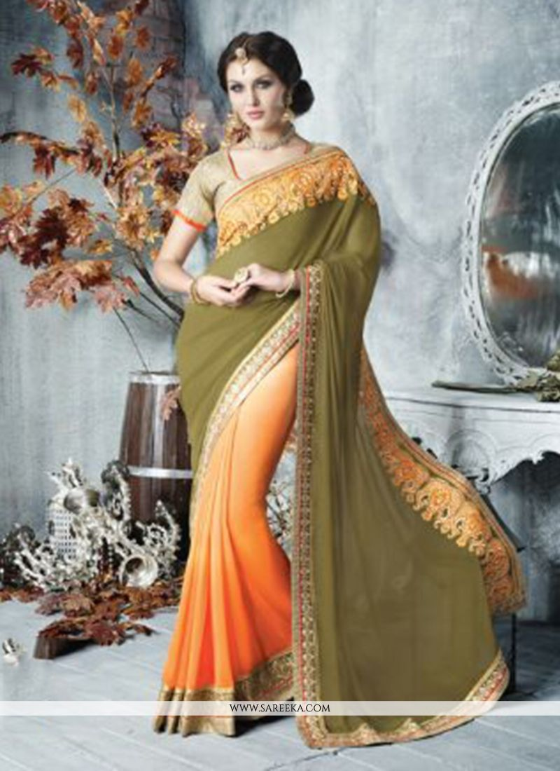 Green And Orange Georgette Designer Saree