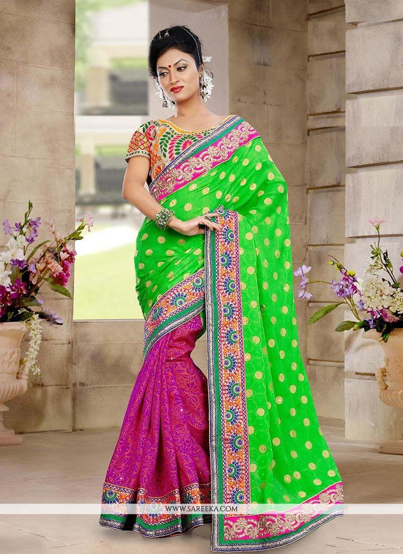 Green And Pink Half And Half Designer Saree