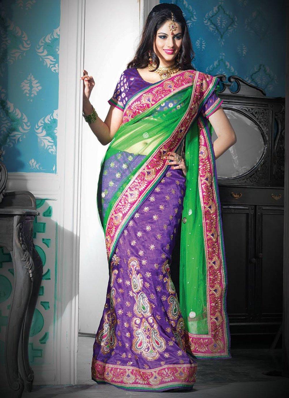 Green And Purple Net And Art Silk Lehenga Saree