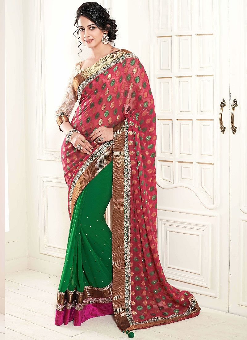 Green And Red Embroidery Faux Georgette Designer Saree
