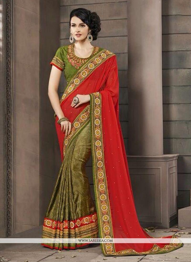 Green And Red Jacquard Silk Designer Saree