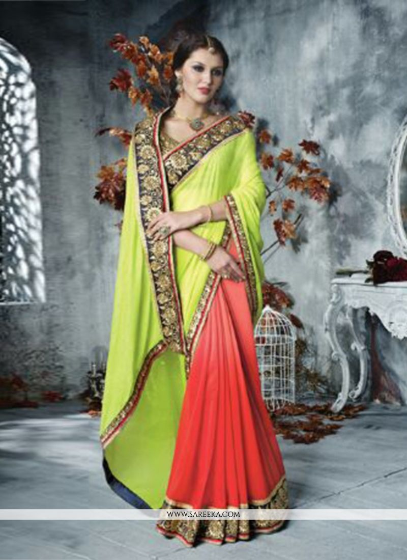 Green And Red Shaded Georgette Saree
