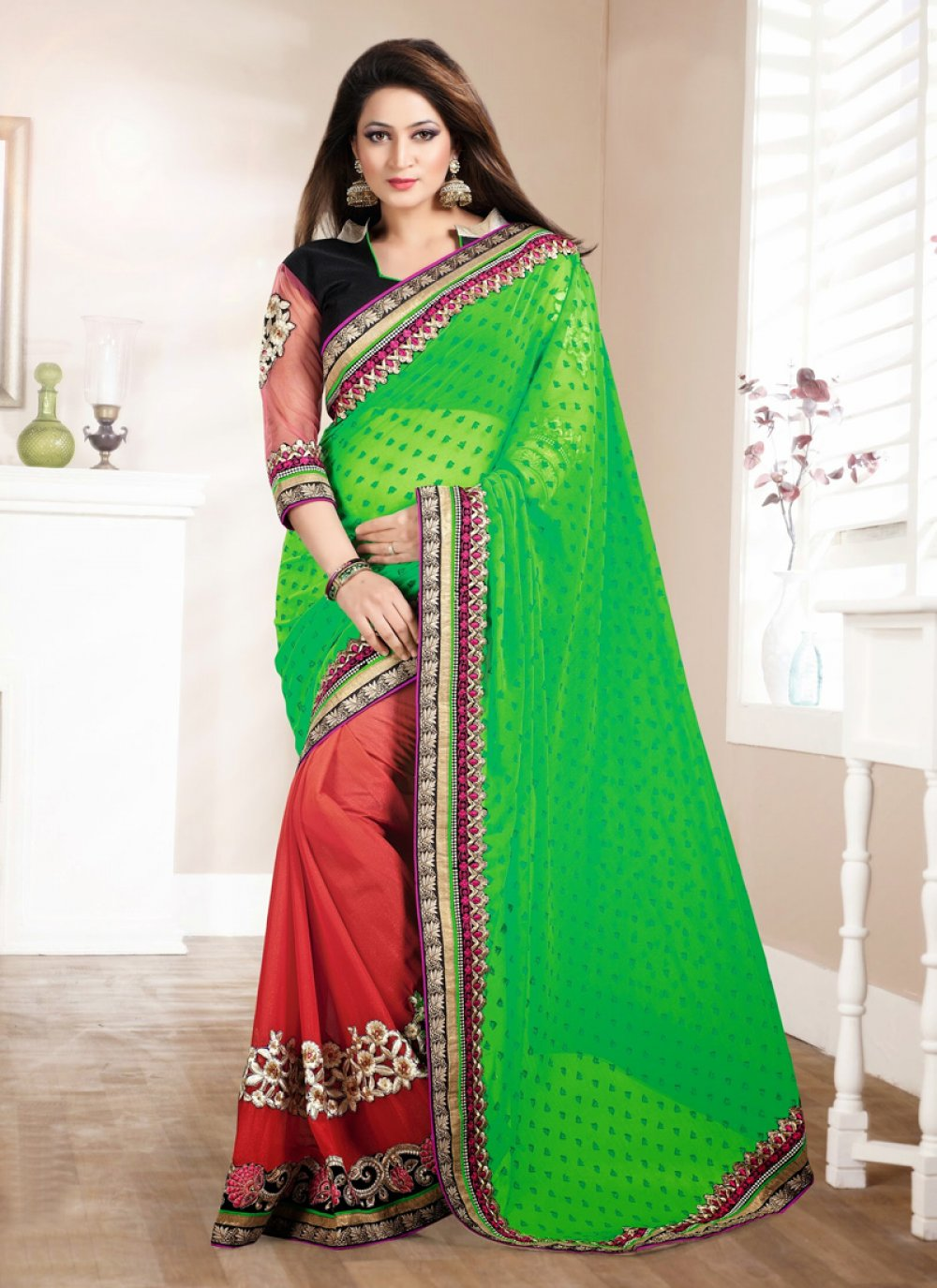 Green And Rust Georgette Saree