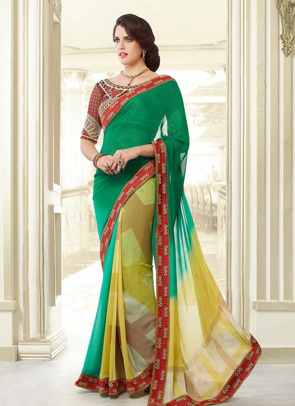 Green And Yellow Border Work Printed Party Wear Saree