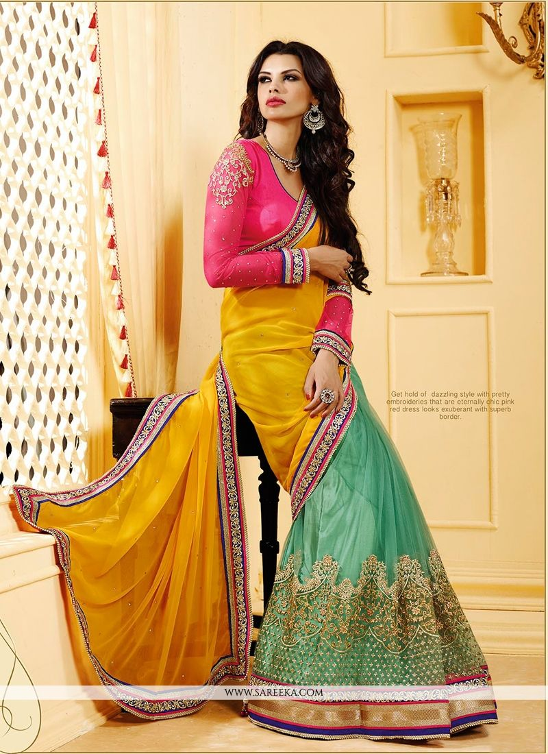 Green And Yellow Net And Georgette Saree