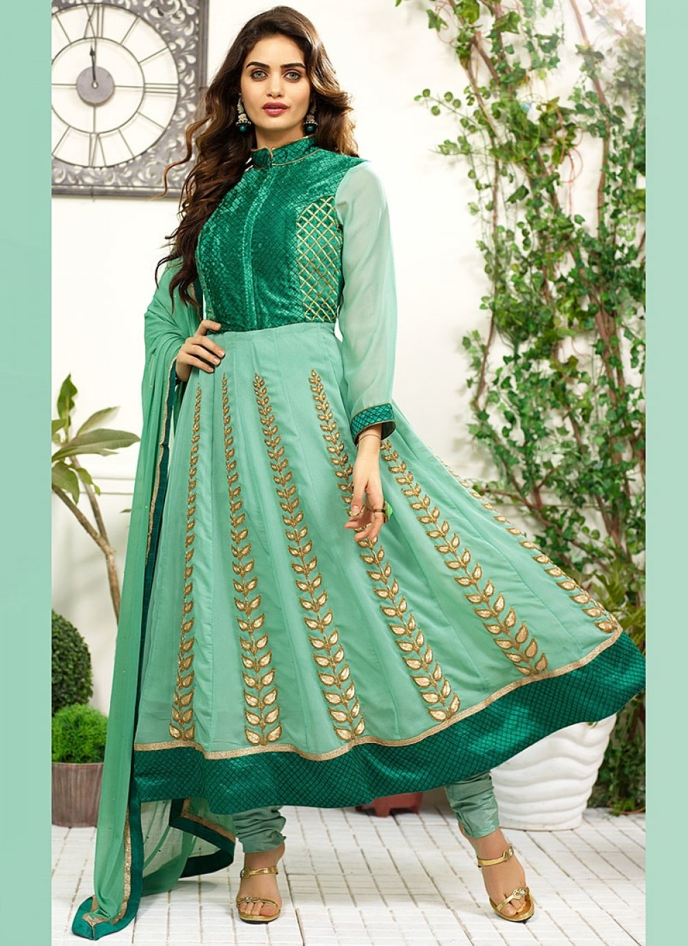 Green Art Silk Anarkali Salwar Suit