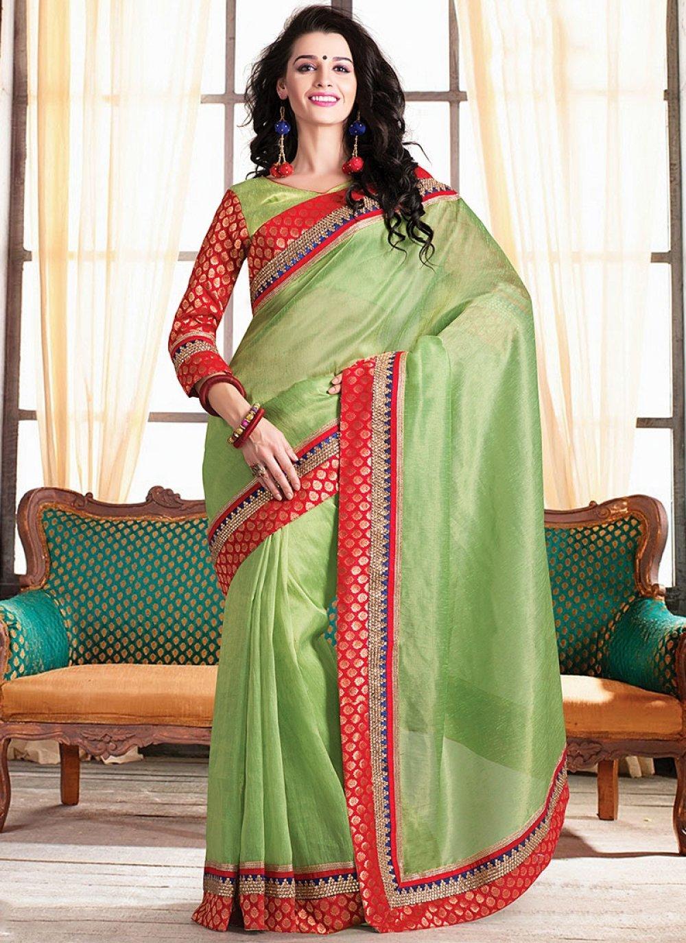 Green Embroidery Designer Saree