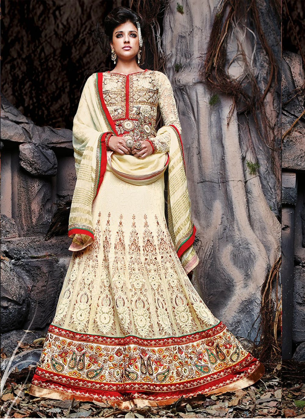 Yellow Embroidery Net Lehenga Choli