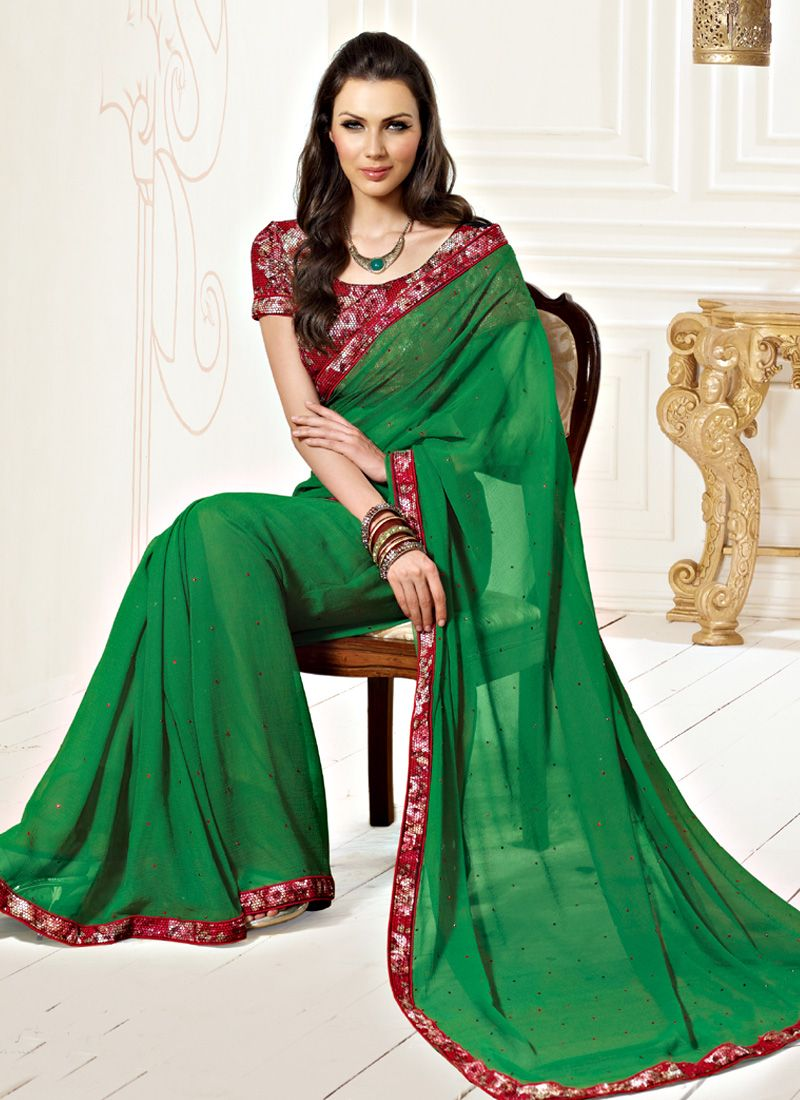 Green Faux Chiffon Stone Work Saree