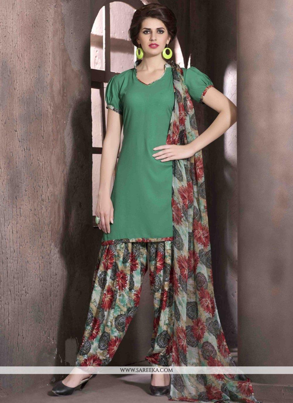 Green Faux Crepe Designer Patiala Salwar Kameez