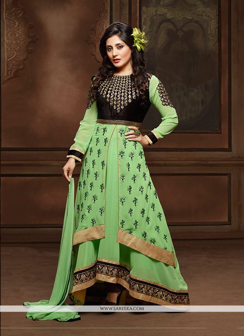 Green Georgette Designer Suit