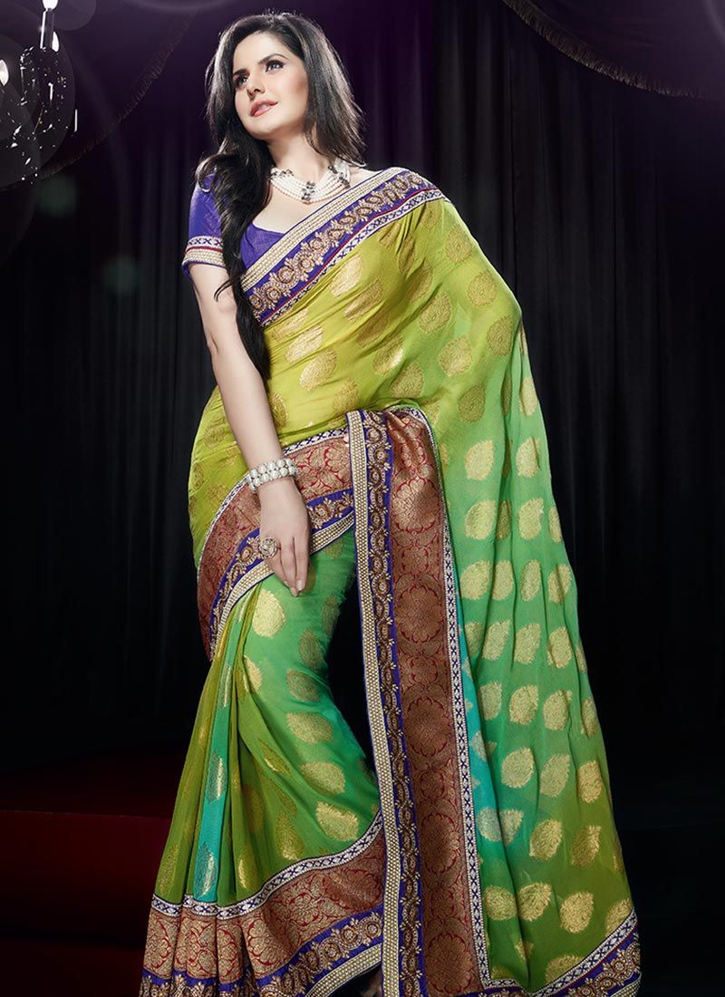 Green Georgette Jacquard Saree
