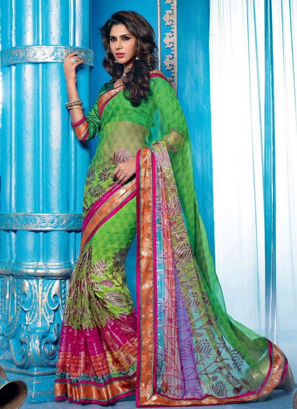 Green Georgette Lingaa Movie Style Saree