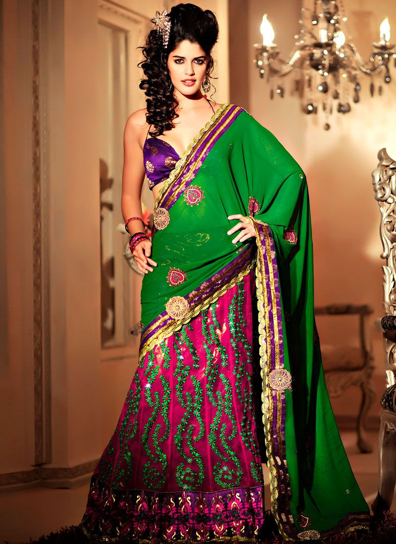 Green Magenta Georgette Net Lehanga Saree